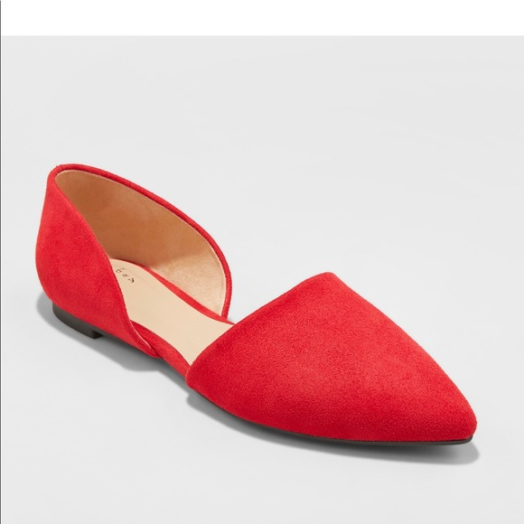 Shoes | Red Pointed Toe Flats | Poshmark